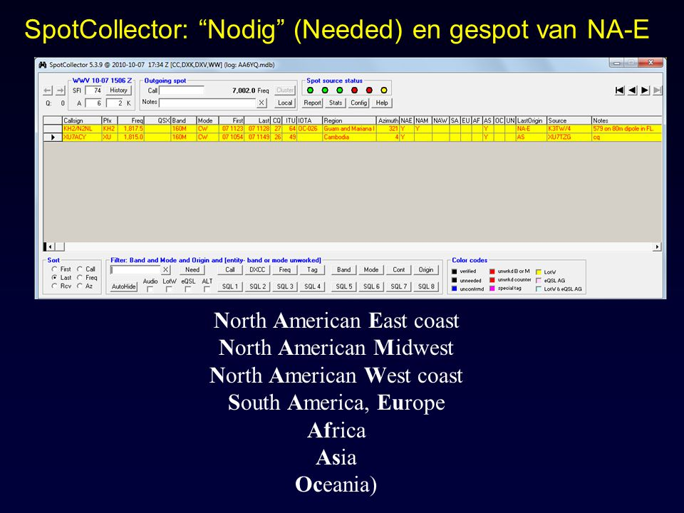 SpotCollector: Nodig (Needed) en gespot van NA-E North American East coast North American Midwest North American West coast South America, Europe Africa Asia Oceania)