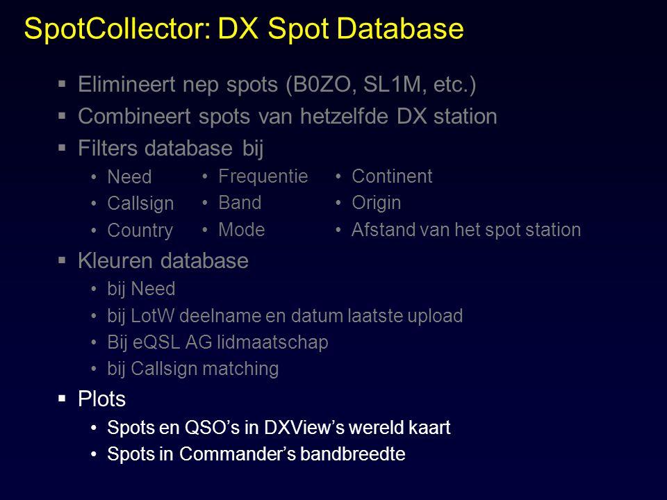 SpotCollector: DX Spot Database  Elimineert nep spots (B0ZO, SL1M, etc.)  Combineert spots van hetzelfde DX station  Filters database bij Need Call