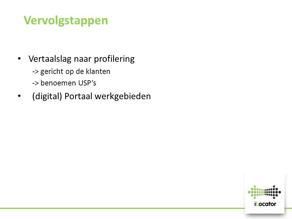 Vervolgstappen Vertaalslag naar profilering -> gericht op de klanten -> benoemen USP's (digital) Portaal werkgebieden
