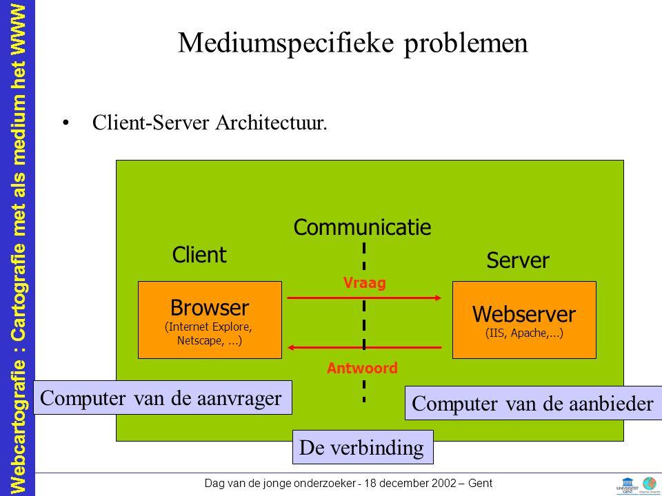 Webcartografie : Cartografie met als medium het WWW Dag van de jonge onderzoeker - 18 december 2002 – Gent Mediumspecifieke problemen Client-Server Ar