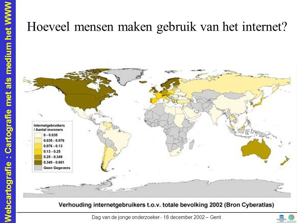 Webcartografie : Cartografie met als medium het WWW Dag van de jonge onderzoeker - 18 december 2002 – Gent Mediumspecifieke problemen De verbinding –Hou de bestanden zo klein mogelijk!!!.