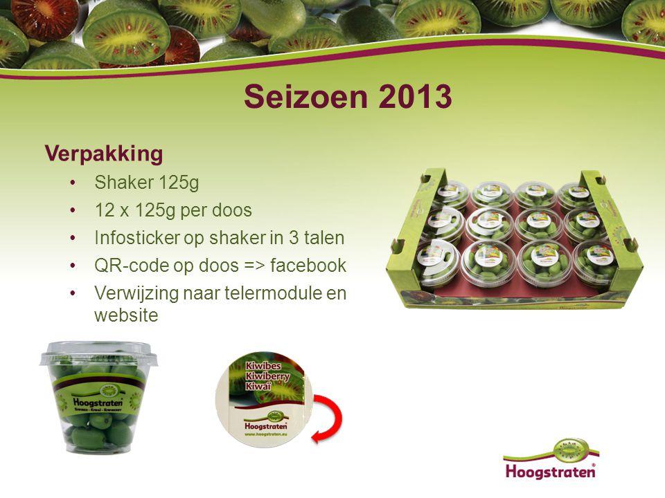 Verpakking Shaker 125g 12 x 125g per doos Infosticker op shaker in 3 talen QR-code op doos => facebook Verwijzing naar telermodule en website Seizoen