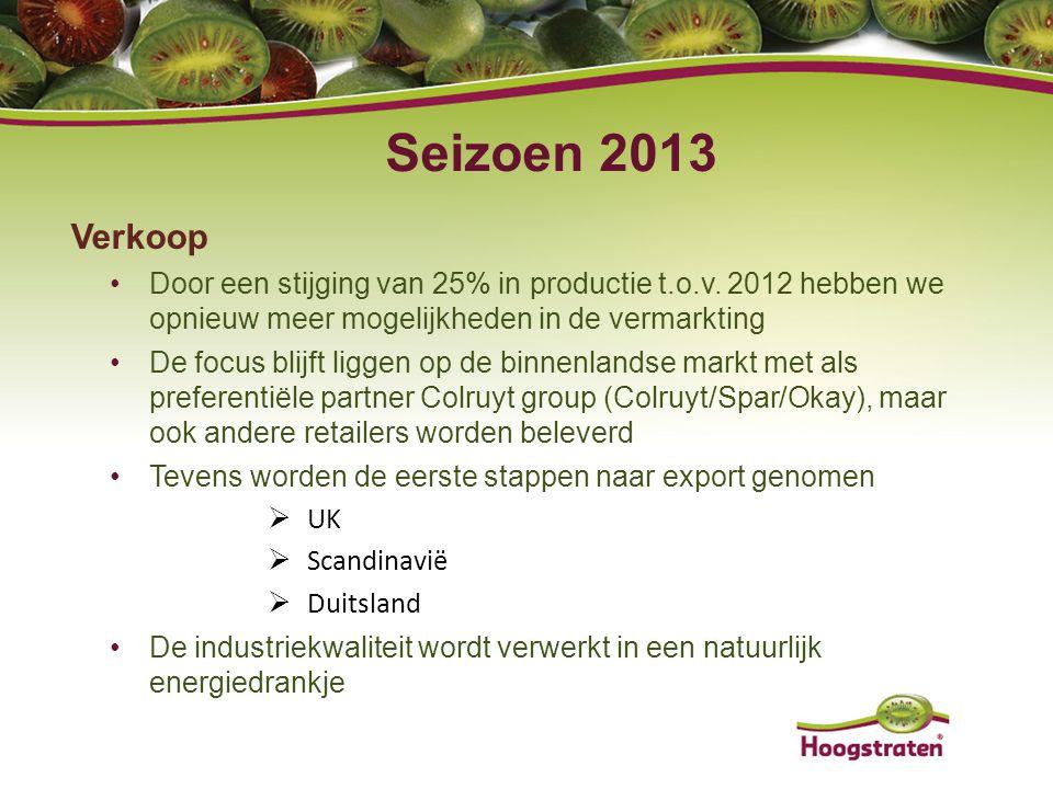 Verkoop Door een stijging van 25% in productie t.o.v. 2012 hebben we opnieuw meer mogelijkheden in de vermarkting De focus blijft liggen op de binnenl