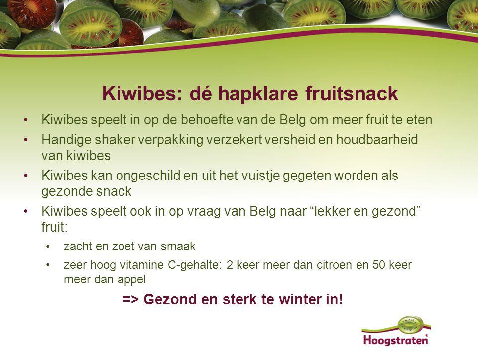 Kiwibes: dé hapklare fruitsnack Kiwibes speelt in op de behoefte van de Belg om meer fruit te eten Handige shaker verpakking verzekert versheid en hou