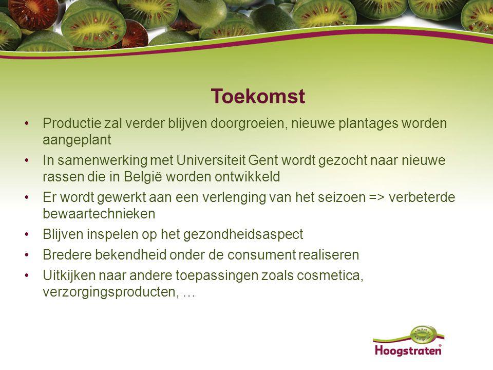 Toekomst Productie zal verder blijven doorgroeien, nieuwe plantages worden aangeplant In samenwerking met Universiteit Gent wordt gezocht naar nieuwe
