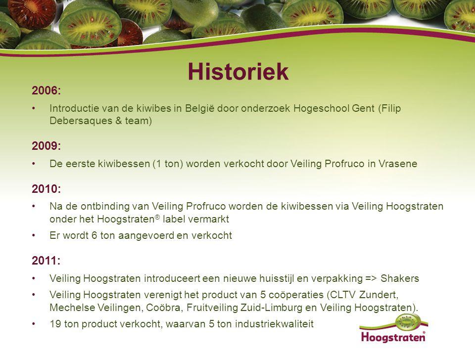 2006: Introductie van de kiwibes in België door onderzoek Hogeschool Gent (Filip Debersaques & team) 2009: De eerste kiwibessen (1 ton) worden verkoch