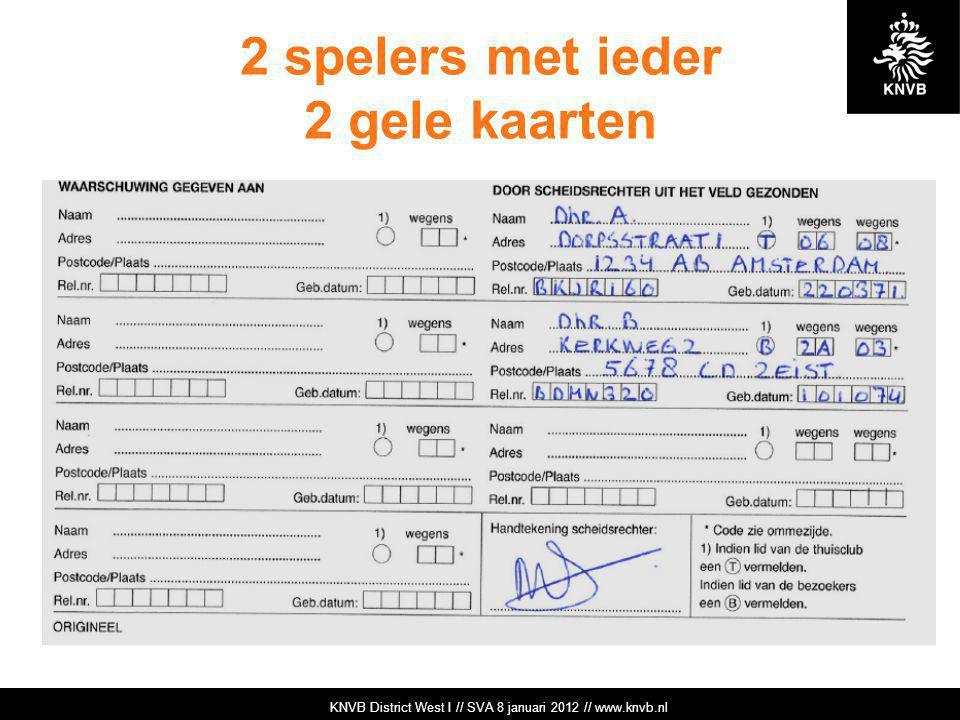 KNVB Academie // Tuchtzaken // www.knvb.nl 2 spelers met ieder 2 gele kaarten KNVB Academie // Tuchtzaken // www.knvb.nl KNVB District West I // SVA 8