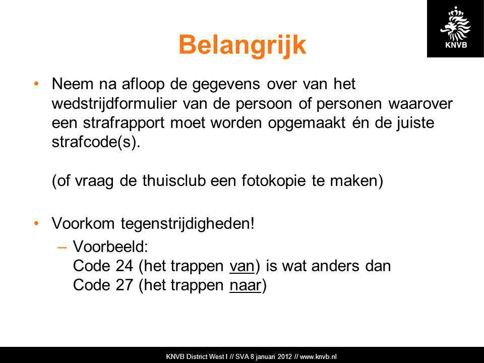 KNVB Academie // Tuchtzaken // www.knvb.nl Belangrijk Neem na afloop de gegevens over van het wedstrijdformulier van de persoon of personen waarover e