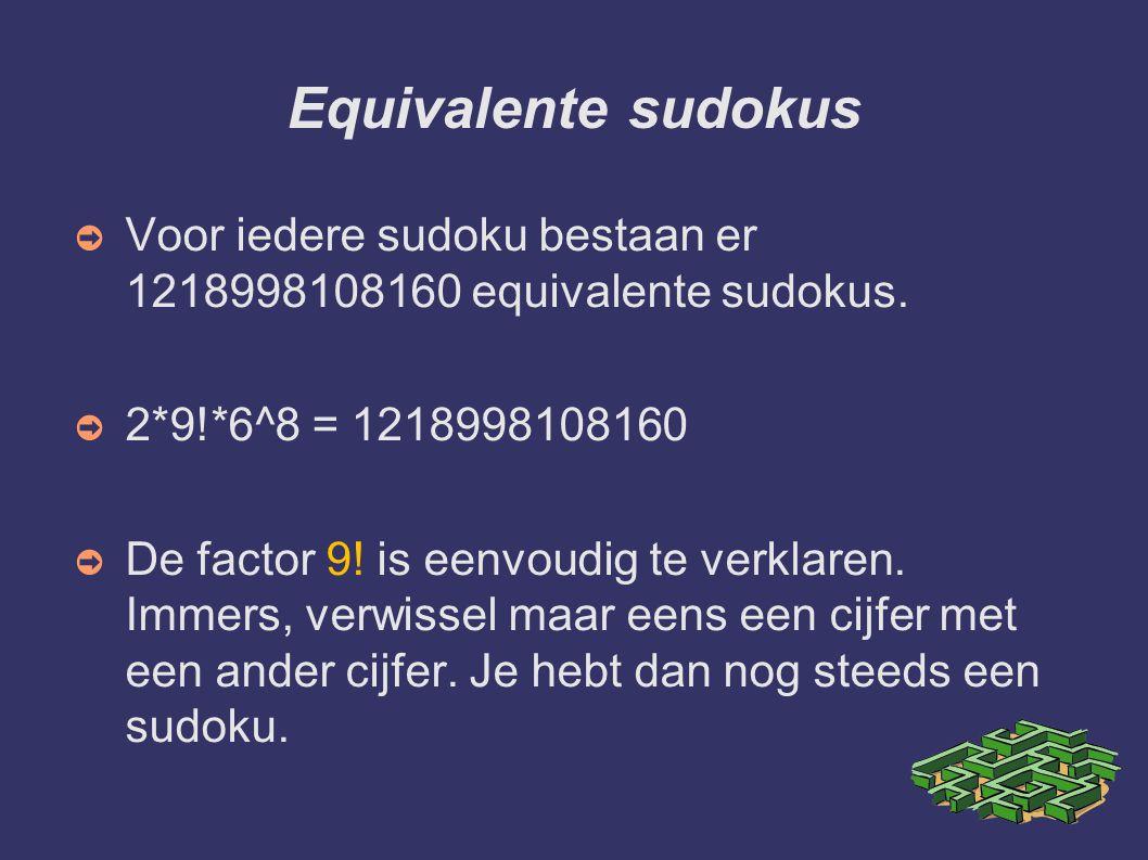 Equivalente sudokus ➲ Voor iedere sudoku bestaan er 1218998108160 equivalente sudokus. ➲ 2*9!*6^8 = 1218998108160 ➲ De factor 9! is eenvoudig te verkl