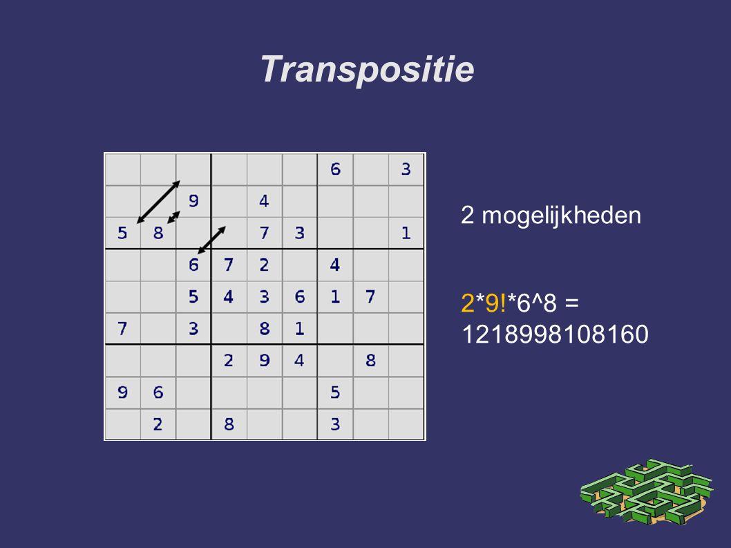 Transpositie 2 mogelijkheden 2*9!*6^8 = 1218998108160