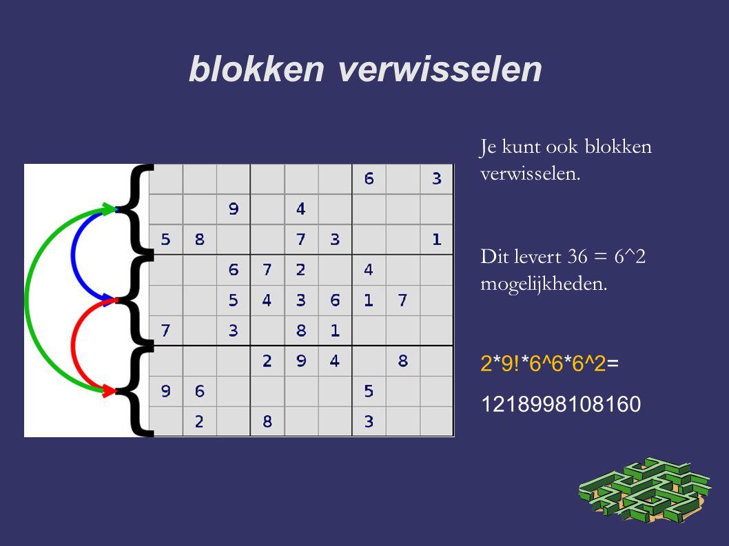 blokken verwisselen Je kunt ook blokken verwisselen. Dit levert 36 = 6^2 mogelijkheden. 2*9!*6^6*6^2= 1218998108160