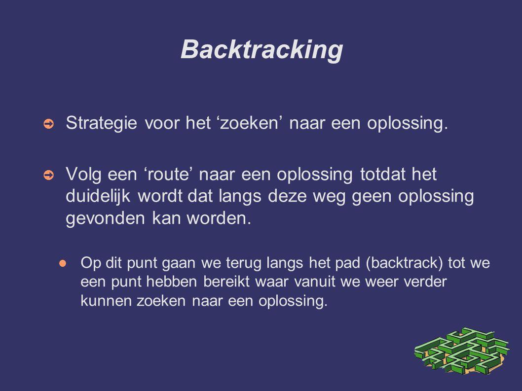 Backtracking ➲ Strategie voor het 'zoeken' naar een oplossing. ➲ Volg een 'route' naar een oplossing totdat het duidelijk wordt dat langs deze weg gee