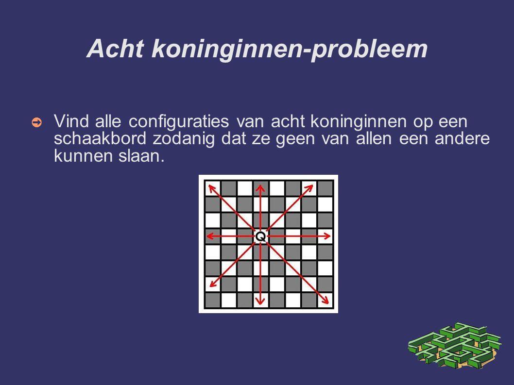 Acht koninginnen-probleem ➲ Vind alle configuraties van acht koninginnen op een schaakbord zodanig dat ze geen van allen een andere kunnen slaan.