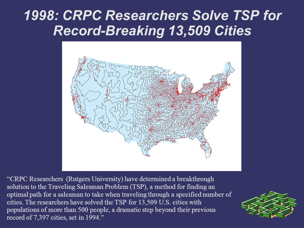 1998: CRPC Researchers Solve TSP for Record-Breaking 13,509 Cities CRPC Researchers (Rutgers University) have determined a breakthrough solution to the Traveling Salesman Problem (TSP), a method for finding an optimal path for a salesman to take when traveling through a specified number of cities.