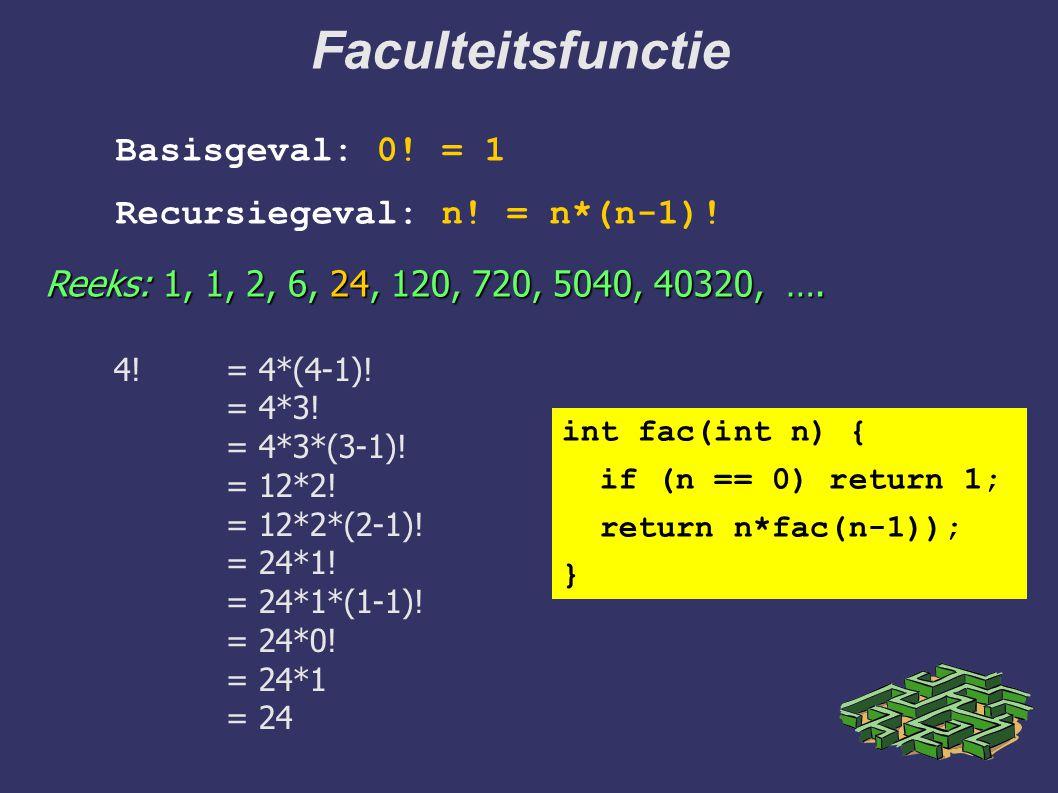 Faculteitsfunctie 4!= 4*(4-1)! = 4*3! = 4*3*(3-1)! = 12*2! = 12*2*(2-1)! = 24*1! = 24*1*(1-1)! = 24*0! = 24*1 = 24 Reeks: 1, 1, 2, 6, 24, 120, 720, 50