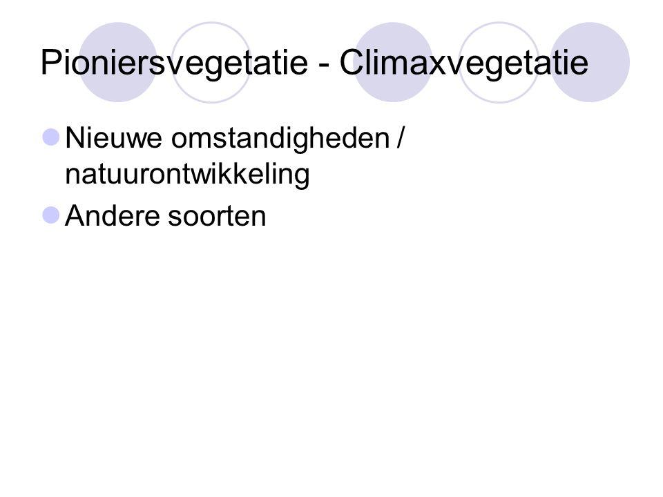 Pioniersvegetatie - Climaxvegetatie Nieuwe omstandigheden / natuurontwikkeling Andere soorten