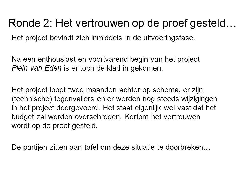 Ronde 2: Het vertrouwen op de proef gesteld… Het project bevindt zich inmiddels in de uitvoeringsfase.