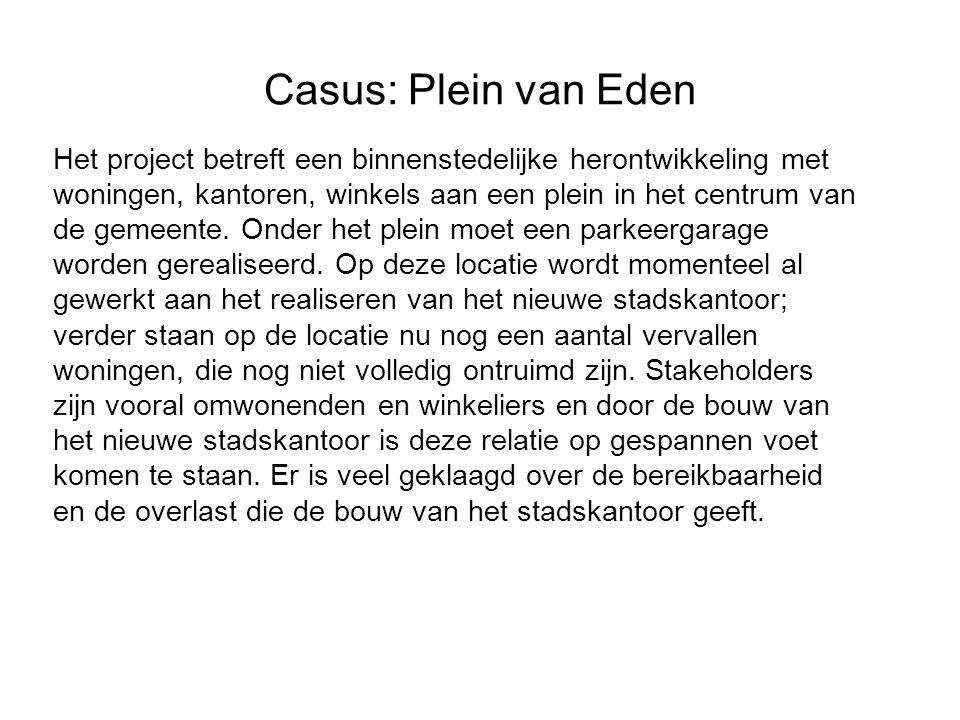 Casus: Plein van Eden Het project betreft een binnenstedelijke herontwikkeling met woningen, kantoren, winkels aan een plein in het centrum van de gemeente.