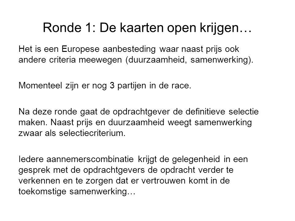 Ronde 1: De kaarten open krijgen… Het is een Europese aanbesteding waar naast prijs ook andere criteria meewegen (duurzaamheid, samenwerking).