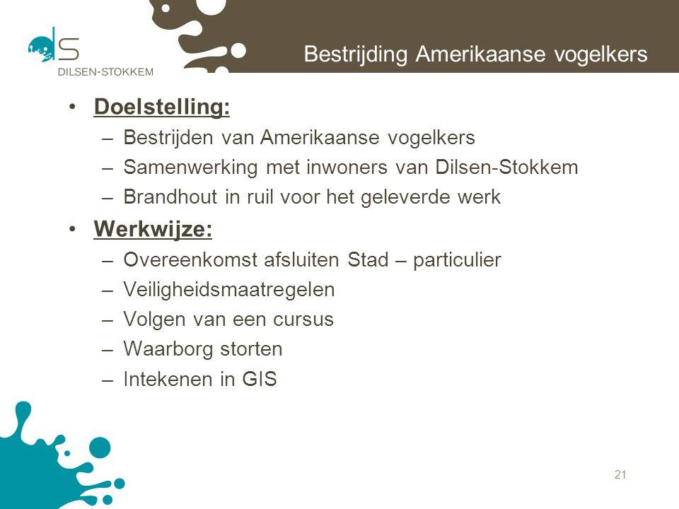 21 Bestrijding Amerikaanse vogelkers Doelstelling: –Bestrijden van Amerikaanse vogelkers –Samenwerking met inwoners van Dilsen-Stokkem –Brandhout in r