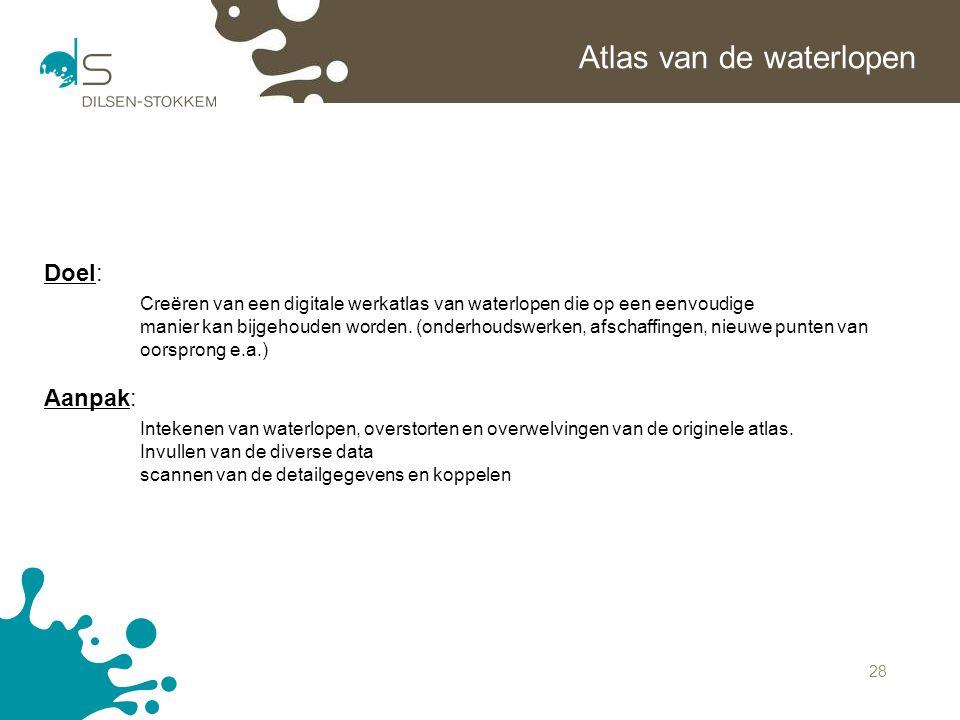 28 Atlas van de waterlopen Doel: Creëren van een digitale werkatlas van waterlopen die op een eenvoudige manier kan bijgehouden worden. (onderhoudswer
