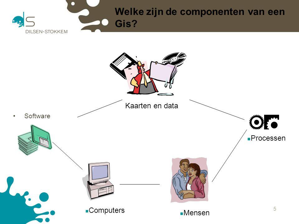 5 Welke zijn de componenten van een Gis? Software Computers Mensen Processen Kaarten en data Welke zijn de componenten van een Gis?