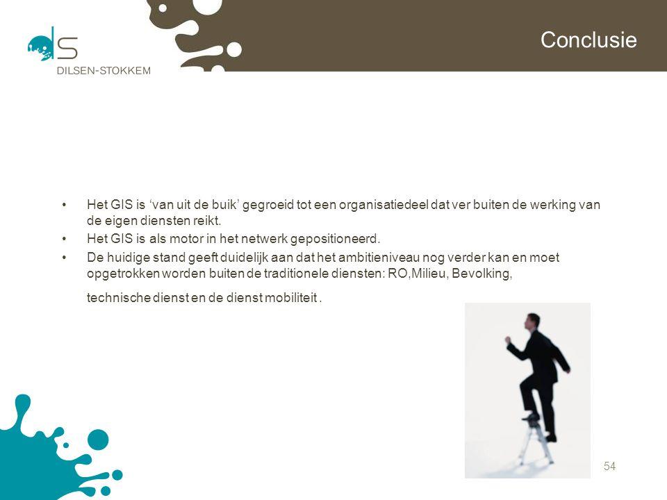 54 Conclusie Het GIS is 'van uit de buik' gegroeid tot een organisatiedeel dat ver buiten de werking van de eigen diensten reikt. Het GIS is als motor