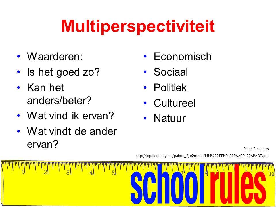 Multiperspectiviteit Waarderen: Is het goed zo? Kan het anders/beter? Wat vind ik ervan? Wat vindt de ander ervan? Economisch Sociaal Politiek Culture