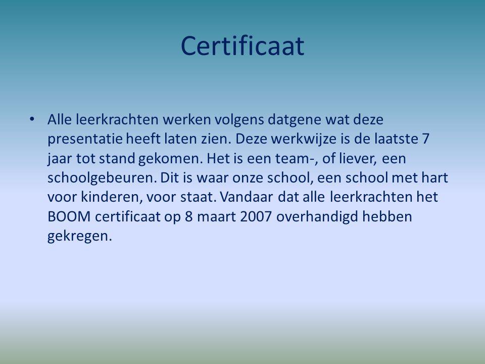 Certificaat Alle leerkrachten werken volgens datgene wat deze presentatie heeft laten zien. Deze werkwijze is de laatste 7 jaar tot stand gekomen. Het