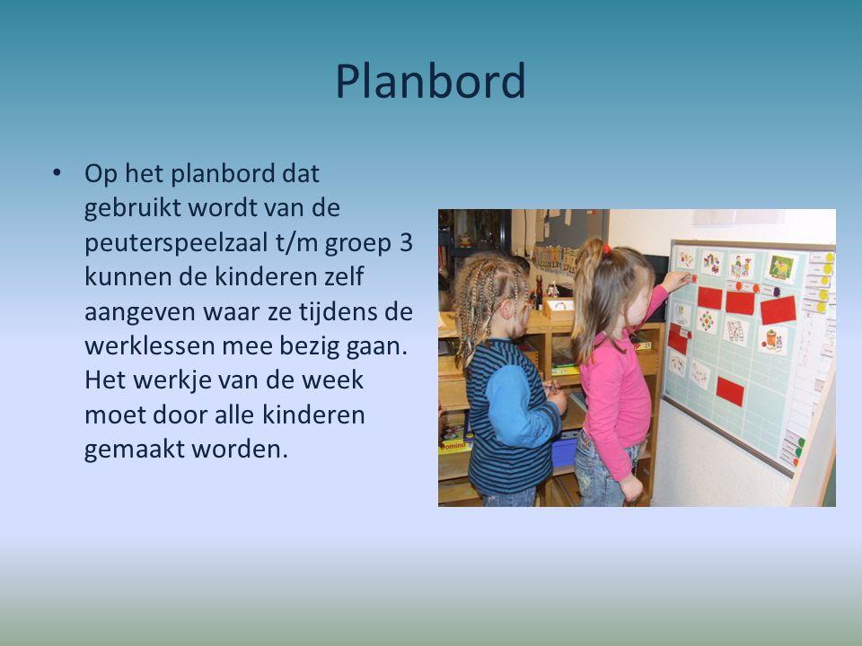 Planbord Op het planbord dat gebruikt wordt van de peuterspeelzaal t/m groep 3 kunnen de kinderen zelf aangeven waar ze tijdens de werklessen mee bezi