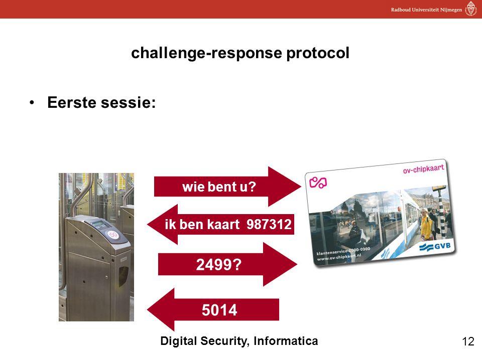 12 Digital Security, Informatica challenge-response protocol Eerste sessie: 2499? 5014 wie bent u? ik ben kaart 987312