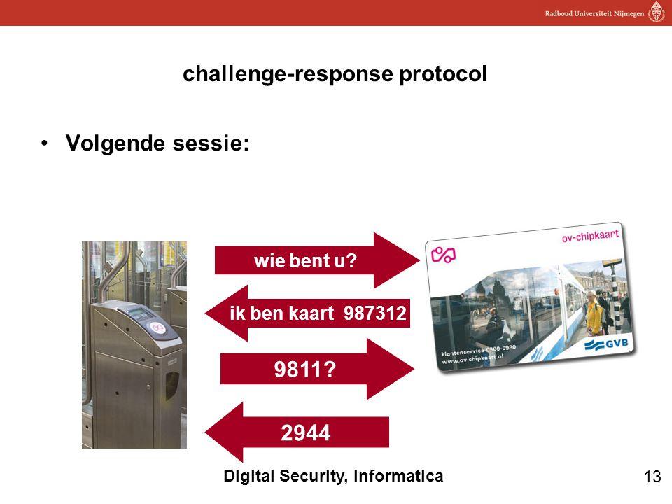 13 Digital Security, Informatica challenge-response protocol Volgende sessie: 9811? 2944 wie bent u? ik ben kaart 987312