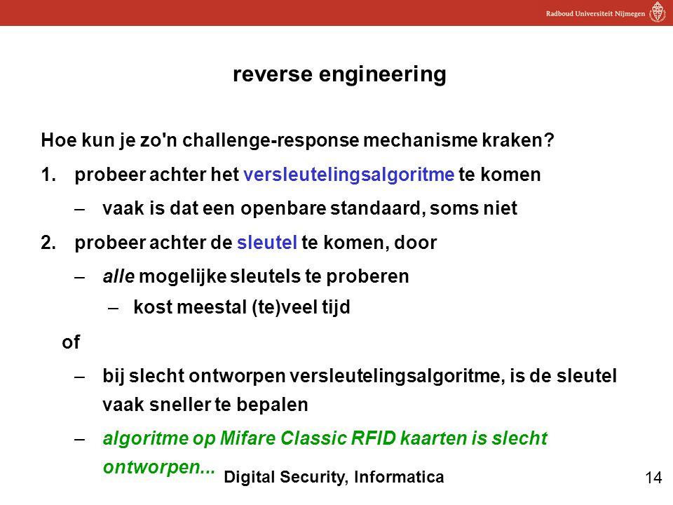 14 Digital Security, Informatica reverse engineering Hoe kun je zo'n challenge-response mechanisme kraken? 1.probeer achter het versleutelingsalgoritm