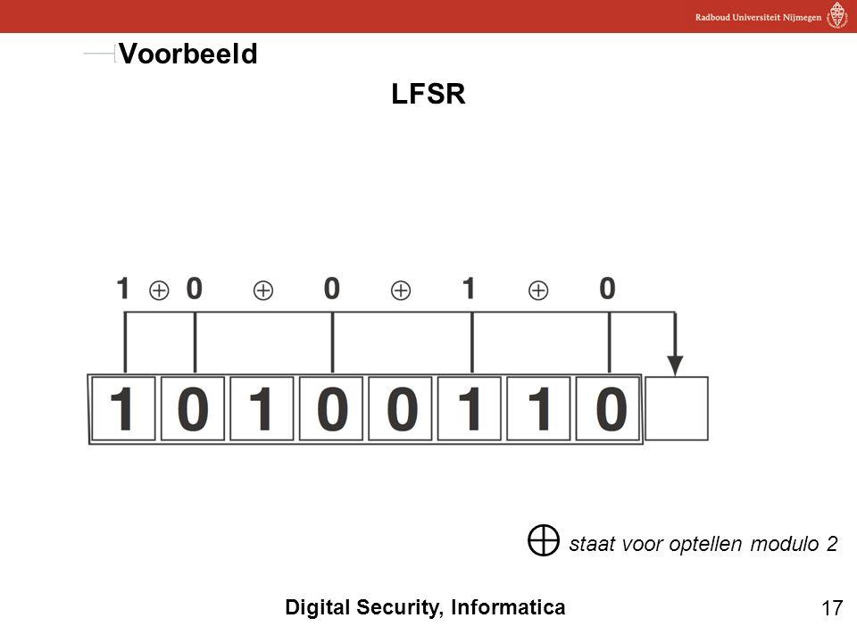 17 Digital Security, Informatica LFSR Voorbeeld ⊕ staat voor optellen modulo 2