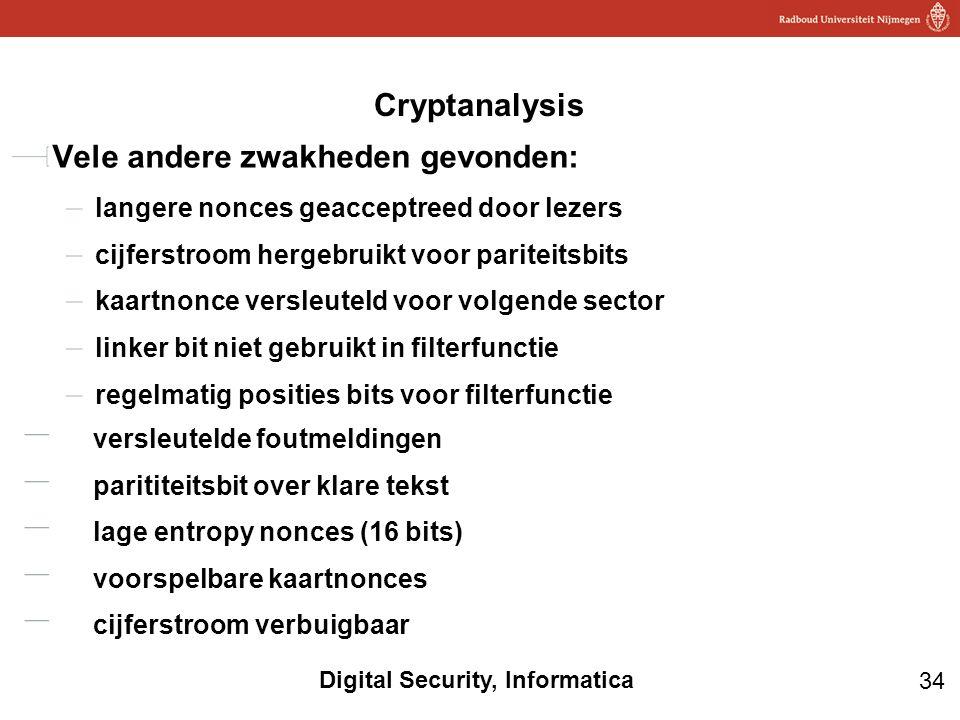34 Digital Security, Informatica Cryptanalysis Vele andere zwakheden gevonden: langere nonces geacceptreed door lezers cijferstroom hergebruikt voor p