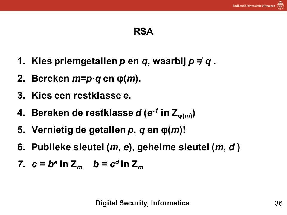 36 Digital Security, Informatica 1.Kies priemgetallen p en q, waarbij p = ̸ q. 2.Bereken m=p ⋅ q en φ(m). 3.Kies een restklasse e. 4.Bereken de restkl