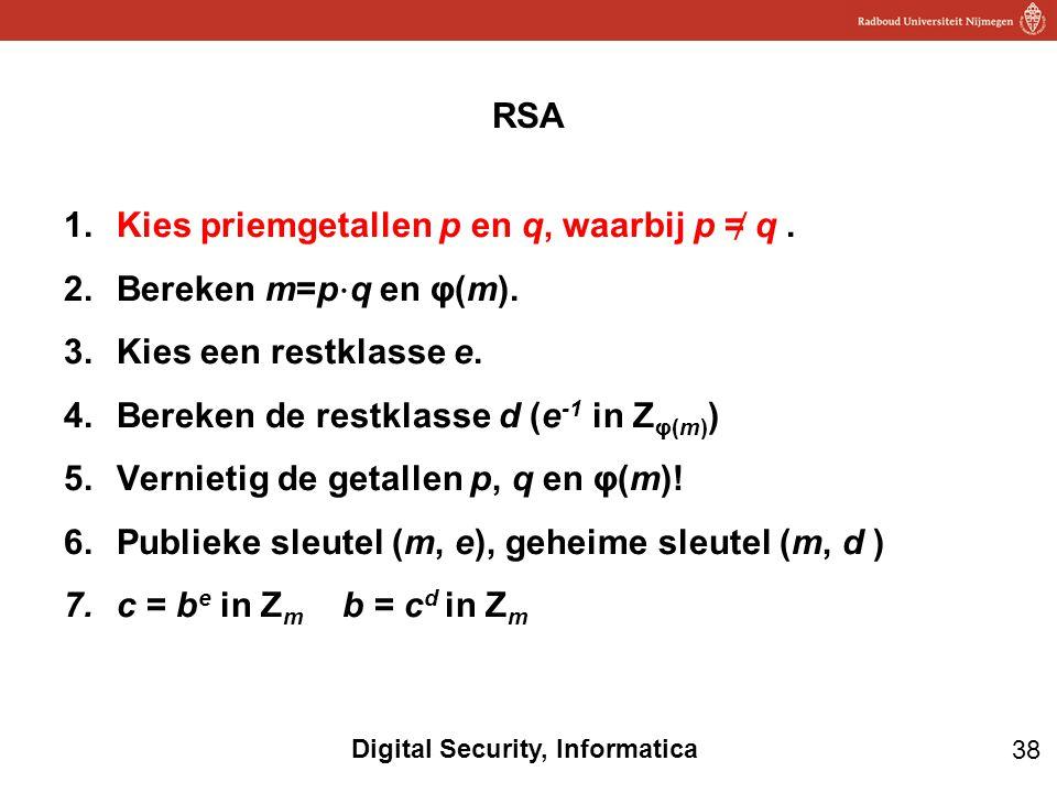 38 Digital Security, Informatica 1.Kies priemgetallen p en q, waarbij p = ̸ q. 2.Bereken m=p ⋅ q en φ(m). 3.Kies een restklasse e. 4.Bereken de restkl