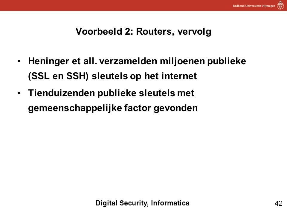 42 Digital Security, Informatica Heninger et all. verzamelden miljoenen publieke (SSL en SSH) sleutels op het internet Tienduizenden publieke sleutels