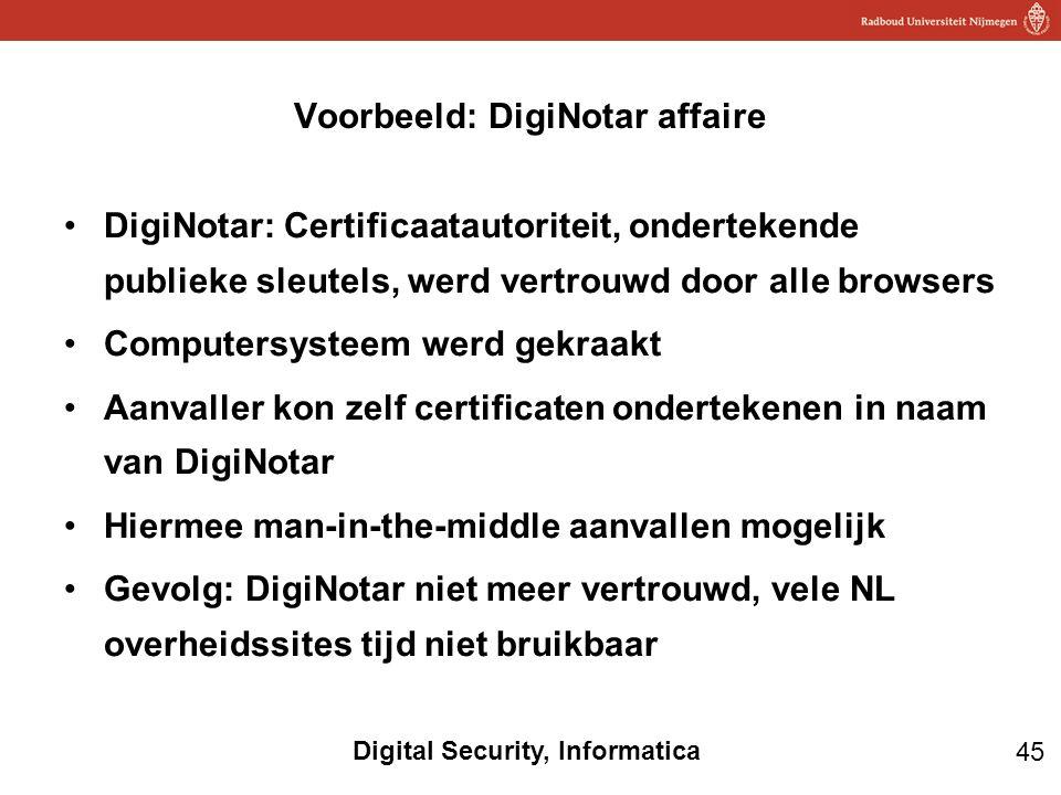 45 Digital Security, Informatica DigiNotar: Certificaatautoriteit, ondertekende publieke sleutels, werd vertrouwd door alle browsers Computersysteem w