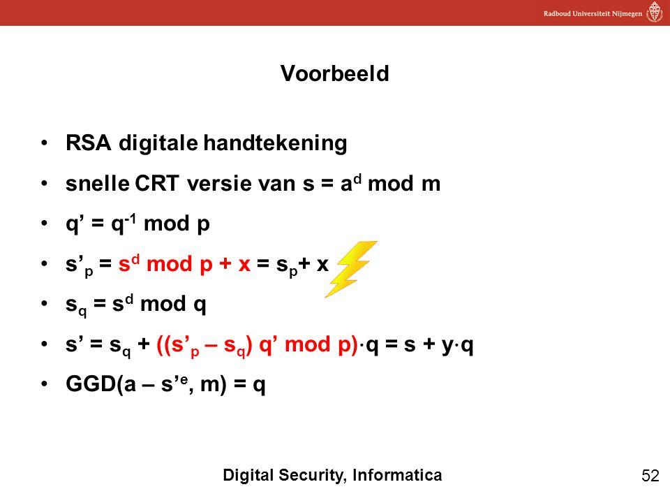 52 Digital Security, Informatica RSA digitale handtekening snelle CRT versie van s = a d mod m q' = q -1 mod p s' p = s d mod p + x = s p + x s q = s