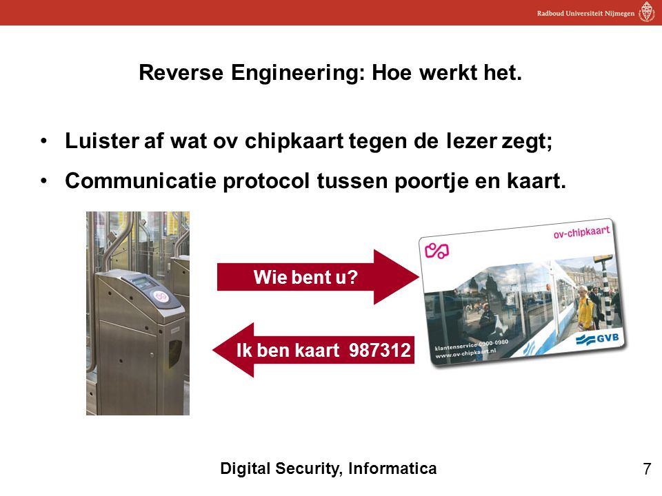 7 Digital Security, Informatica Luister af wat ov chipkaart tegen de lezer zegt; Communicatie protocol tussen poortje en kaart. Reverse Engineering: H