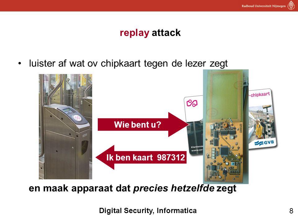 8 Digital Security, Informatica replay attack luister af wat ov chipkaart tegen de lezer zegt en maak apparaat dat precies hetzelfde zegt Wie bent u.