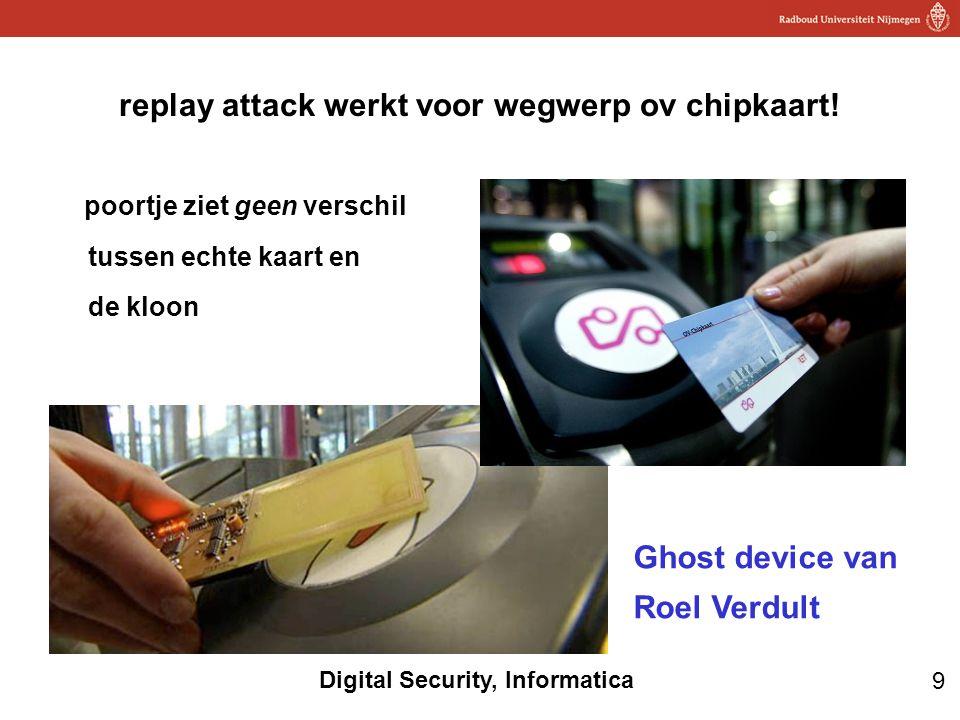 9 Digital Security, Informatica replay attack werkt voor wegwerp ov chipkaart! poortje ziet geen verschil tussen echte kaart en de kloon Ghost device