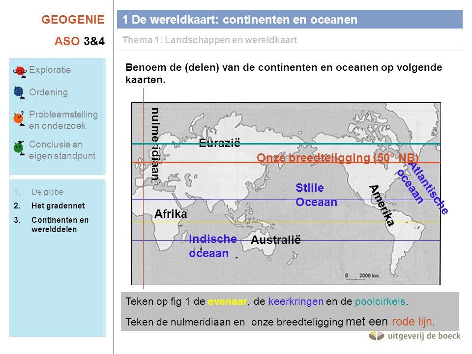 GEOGENIE ASO 3&4 Benoem de (delen) van de continenten en oceanen op volgende kaarten. Teken op fig 1 de evenaar, de keerkringen en de poolcirkels. Tek
