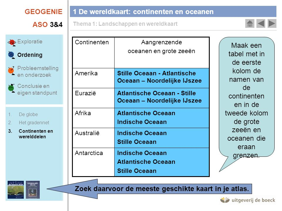 GEOGENIE ASO 3&4 Maak een tabel met in de eerste kolom de namen van de continenten en in de tweede kolom de grote zeeën en oceanen die eraan grenzen.
