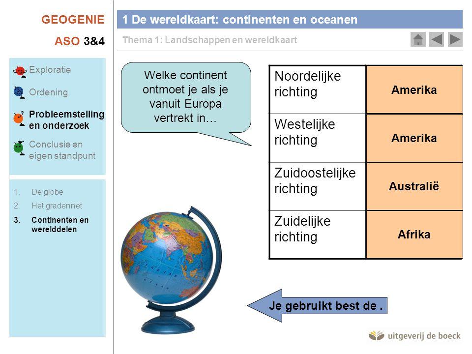 GEOGENIE ASO 3&4 Welke continent ontmoet je als je vanuit Europa vertrekt in… Noordelijke richting Westelijke richting Zuidoostelijke richting Zuideli