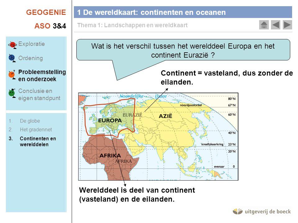 GEOGENIE ASO 3&4 Wat is het verschil tussen het werelddeel Europa en het continent Eurazië ? Werelddeel is deel van continent (vasteland) en de eiland