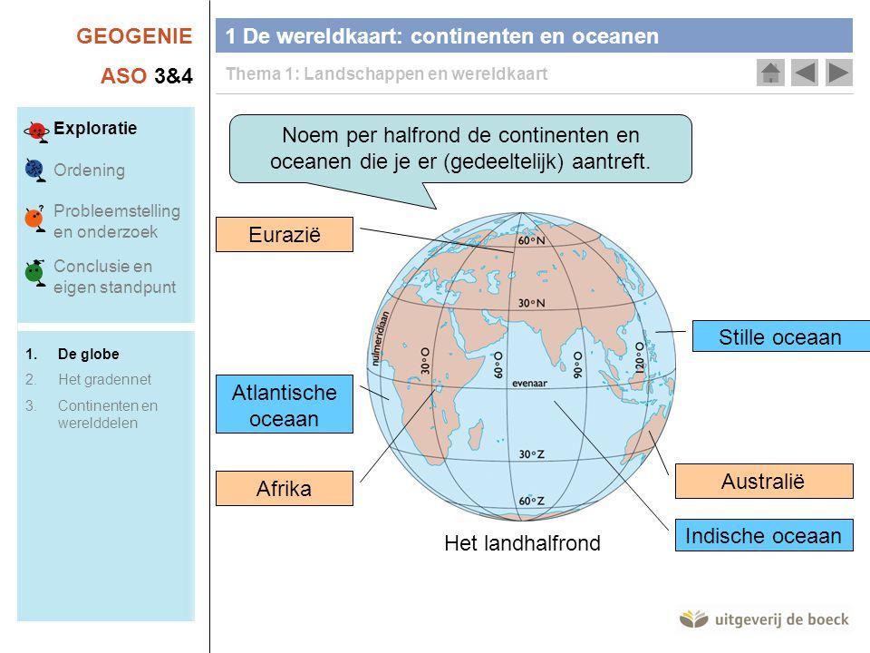 GEOGENIE ASO 3&4 Noem per halfrond de continenten en oceanen die je er (gedeeltelijk) aantreft. Het landhalfrond Afrika Australië Eurazië Indische oce