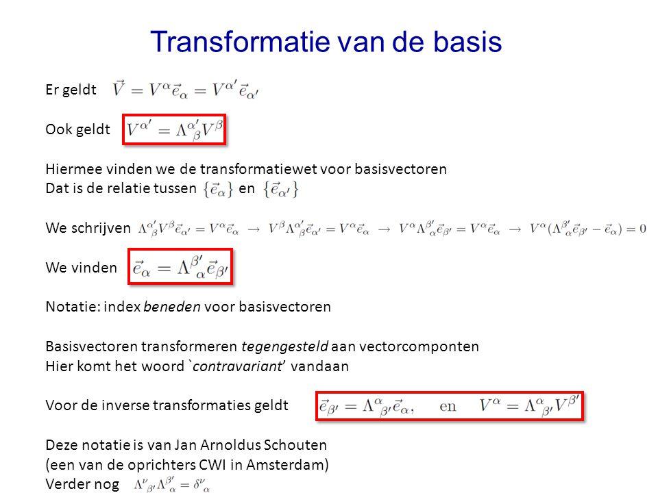Er geldt Ook geldt Hiermee vinden we de transformatiewet voor basisvectoren Dat is de relatie tussen en We schrijven We vinden Notatie: index beneden