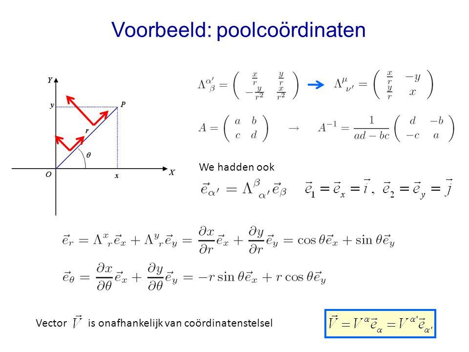 Voorbeeld: poolcoördinaten We hadden ook Vector is onafhankelijk van coördinatenstelsel